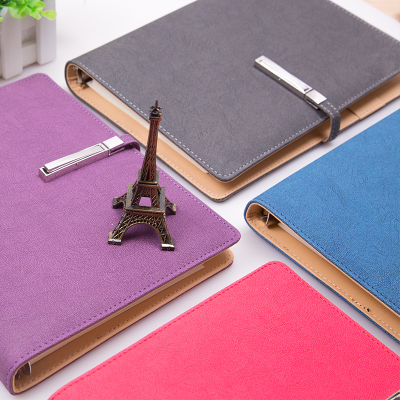 Business office notebook organizers with card slots pocket and metal lock clip