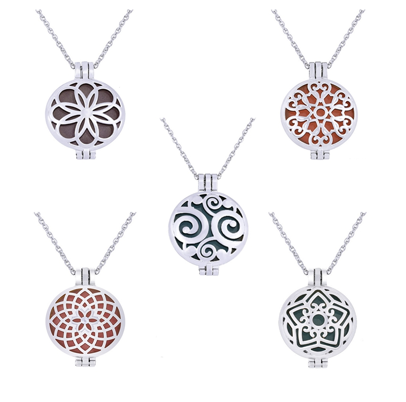 Fashion Aromatherapy Diffuser <strong>Jewelry</strong> Round Essential Oil Pendant Necklace Wholesale With Hollow Star And Flowers Designs