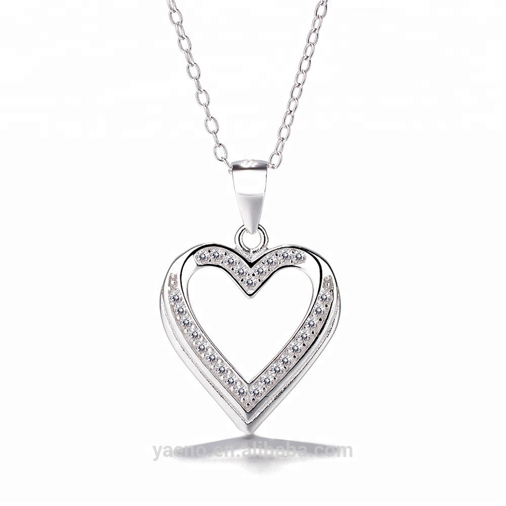 Discount Hot Sale Meilong Jewelry Factory Heart Pendant Necklace 925 Sterling <strong>Silver</strong>