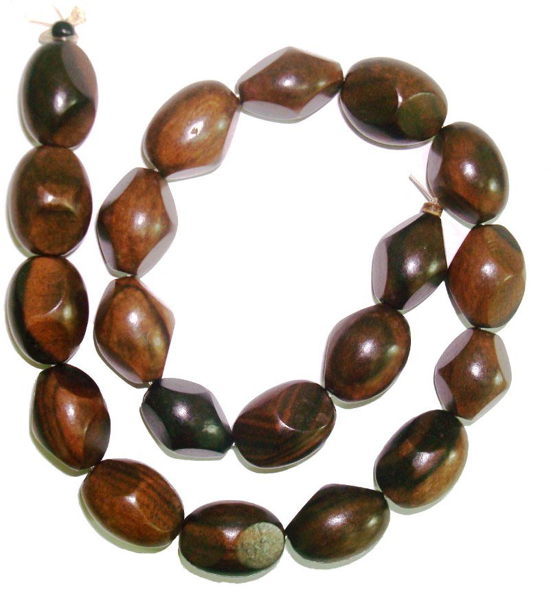 Tiger Ebony Wood Faceted Oval Beads 15x20mm
