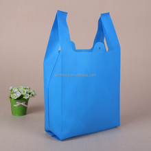 blue color no printing non woven carry out t shirt bags for mall shopping in stock