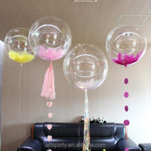 18 inch feather bubble latex balloon Bobo latex balloon for wedding&party decoration