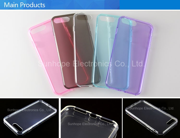 clear Transparent tpu soft cell phone case for Iphone 7 8 plus tpu cover