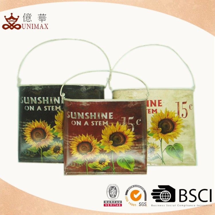 2015new arrival sunflower theme square flower basket for garden accesories