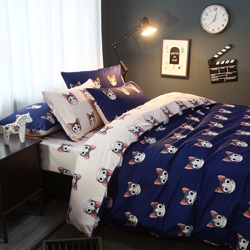 Hotel Supplies Outlet Bedding Set Cat Print Bed Linen Bedding Set