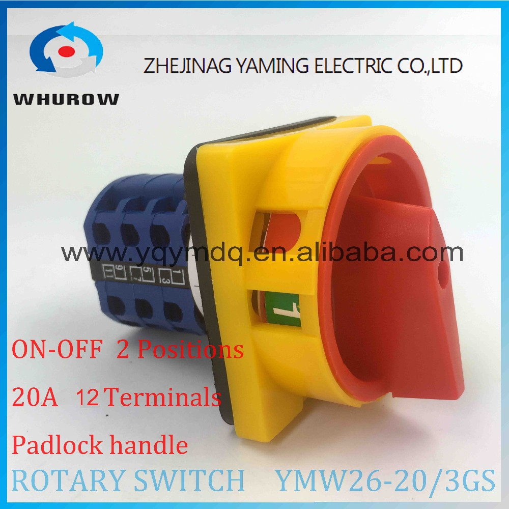 Rotary switch YMW26-20/3GS with padlock handle changeover cam switch 20A 690V 2 positons 3 sections 12 terminals sliver contact