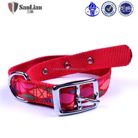 2015 hot red color dog leash dog collar with buckle Fashion nylon webbing