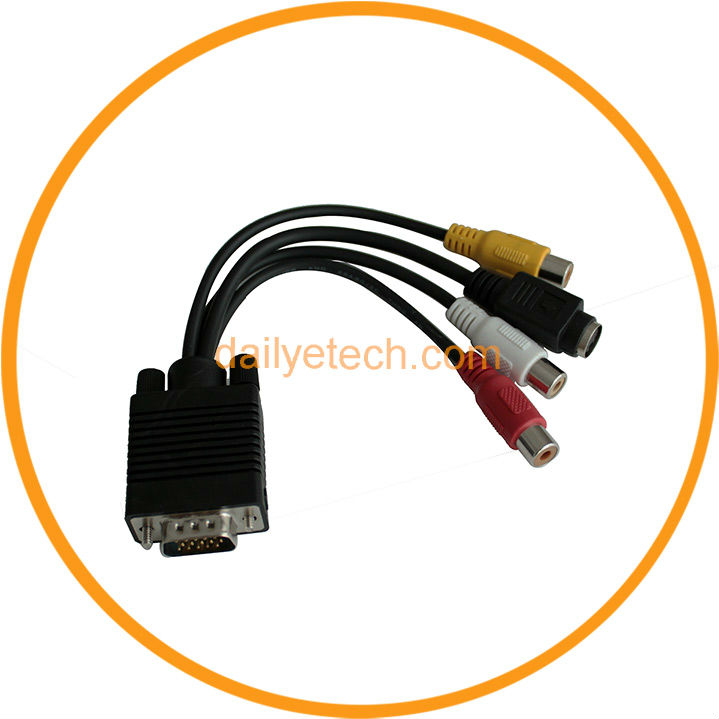VGA 15 Pin to 3 RCA 1 S-Video 4 Pin Female AV TV Out Cables from Dailyetech