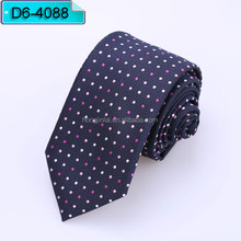 Pink and white spot Micro Fiber neckties blue color polyester woven ties D64088