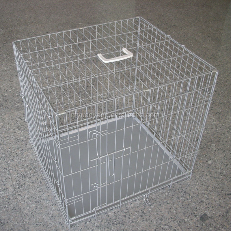 sliver foldable folding wire dog crate cage cat carrier