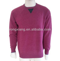 Round-neck pullover hand knitted cashmere sweater design for men