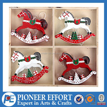 Christmas wood red and wholesale white rocking horse ornament