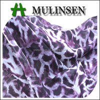 Mulinsen Textile Hot Sell Woven Animal Printed Wool Polyester Chiffon Fabrics for Dress