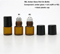 Wholesale mini amber 1ml glass roll on bottle for perfume,liquid
