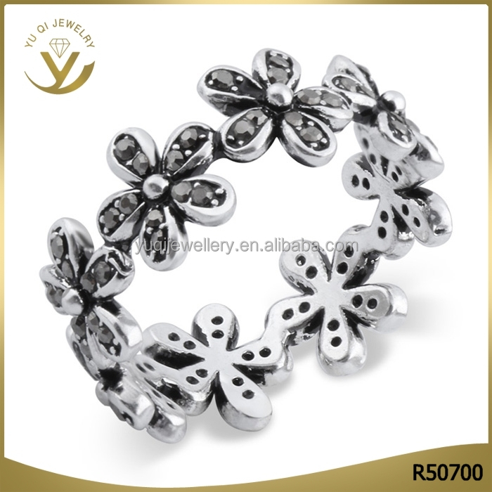 New arrival girl's favorite black silver plated flower pattern O ring bohemian style jewelry
