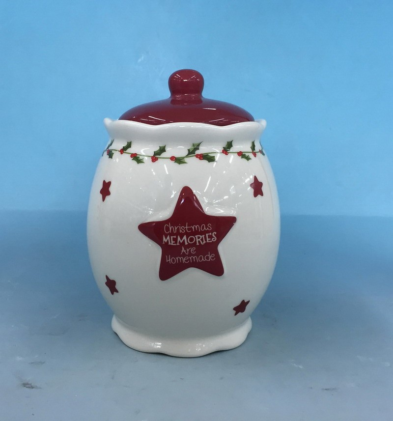 Lovely design Stoneware kitchen products ceramic cookie jar