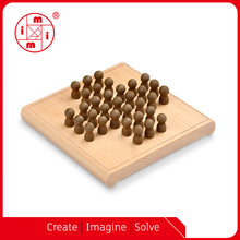 wood mini board game travel solitaire game
