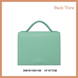 Smart Design Pure Green Handbag Pu Leather with Detachable Strap for Women Outside