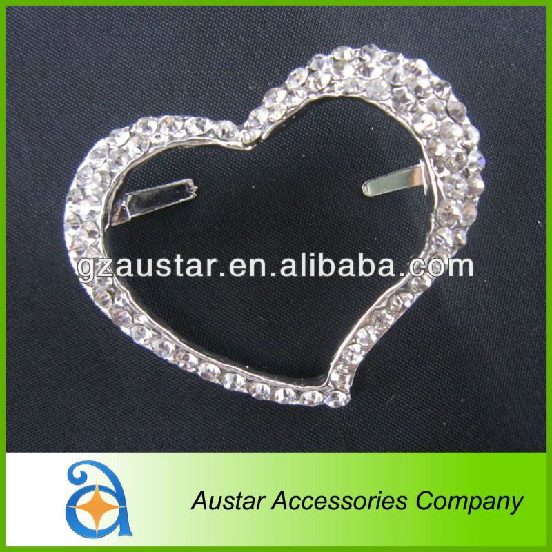 Silver Heart rhinestone crystal shoe clips for bridal shoes