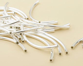 Slim Brass DIY Jewlery component&Findings Silver Curved Tube Bead