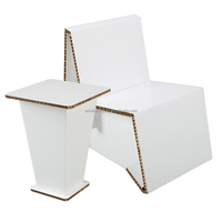 Foldable Recycled Cardboard Chair and Table Corrugated Cardboard Furniture
