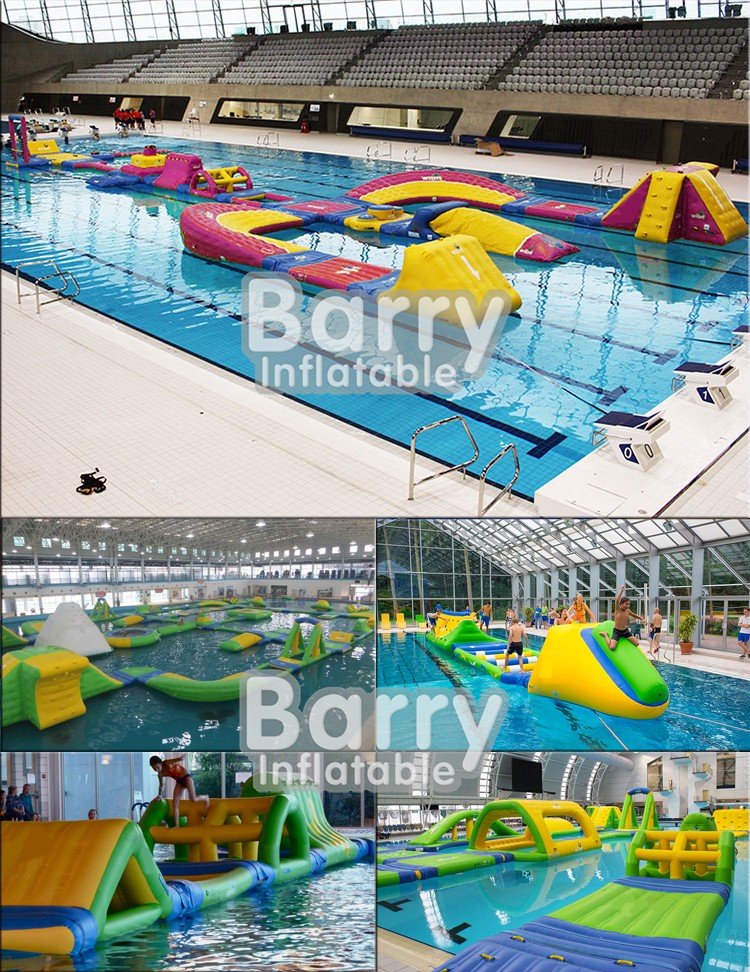 Cheap inflatable water obstacle course with swimming pool equipment