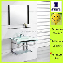 China cheap hand washing bathroom design wall mounted glass vessel basin & sink