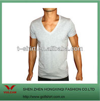 NEW SLIM FIT T SHIRTS CLASSIC DEEP V NECK GRAY MENS
