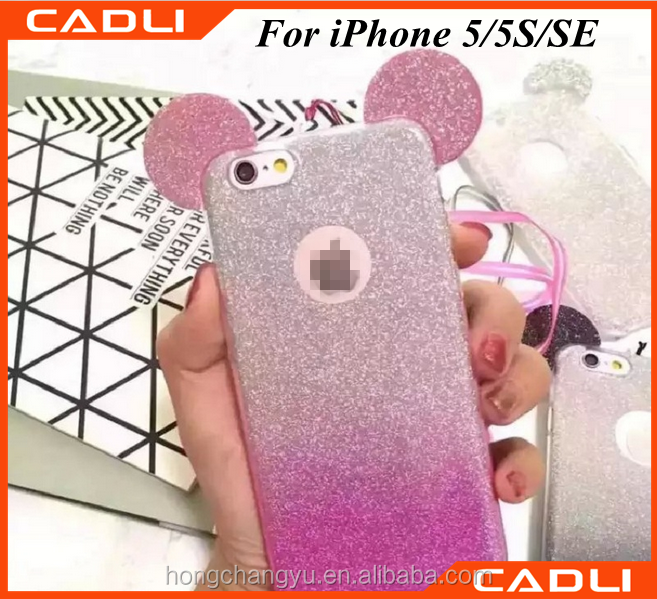 free sample 3D cute animal ears silicone cell phone case for iphone 5 5S SE