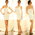 Elegant Women's one piece Noble Pleated Slim Fit One Shoulder Strapless Party Dress plus size 11464