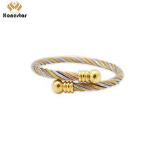 Honestar Costomized women jewlery gold screw stainless steel bangles
