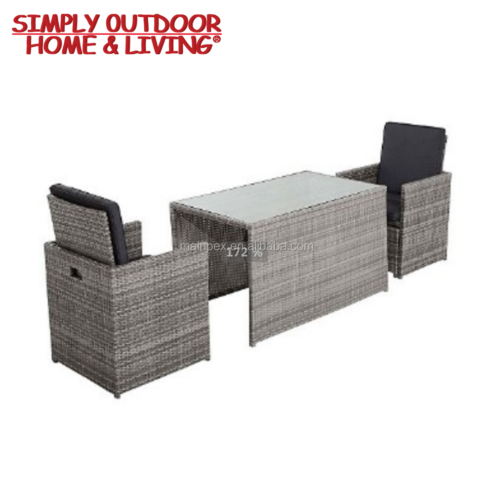 High Quality 2 Seater Rattan Furniture Patio Dining Table With Ottoman