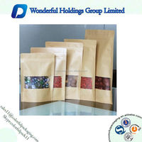 Stand up pouch/kraft paper bag with zipper/kraft paper bag with window for food packaging