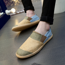 Fancy color splicing 2017 korean style slip on washed jeans mens canvas shoes