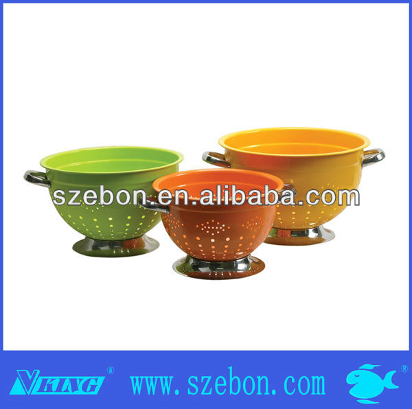 stainless steel fruit Round colored colander with stand