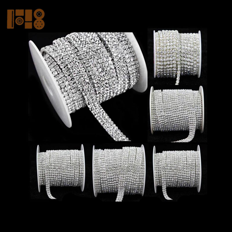 2-row/3-row/4-row/5-row crystal rhinestone trims close chain silver ss16