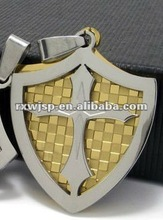 Stainless Steel Mens Gold Tone Carbide Shield Nacklace Cross Pendant