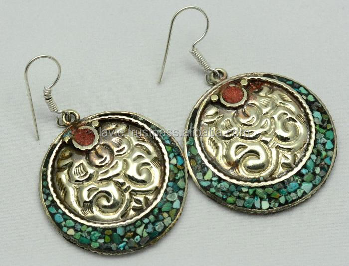925 Silver Tibetan Beautiful, charm, Fashion Earring Jewelry Vintage Earring, Silver Jewelry