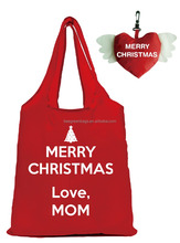 Merry Christmas! Reusable foldable shopper tote gift polyester bag with cute pouch logos free