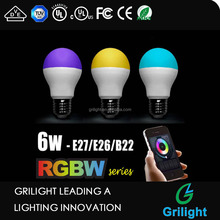 APP remote control RGBW 6W led bulb with e27 lamp holder smart lamp