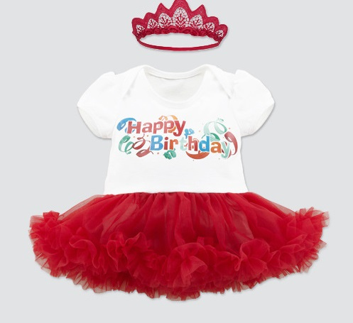 Baby Cotton Frocks Designs Wholesale Happy Birthday Set Infant Baby Dress