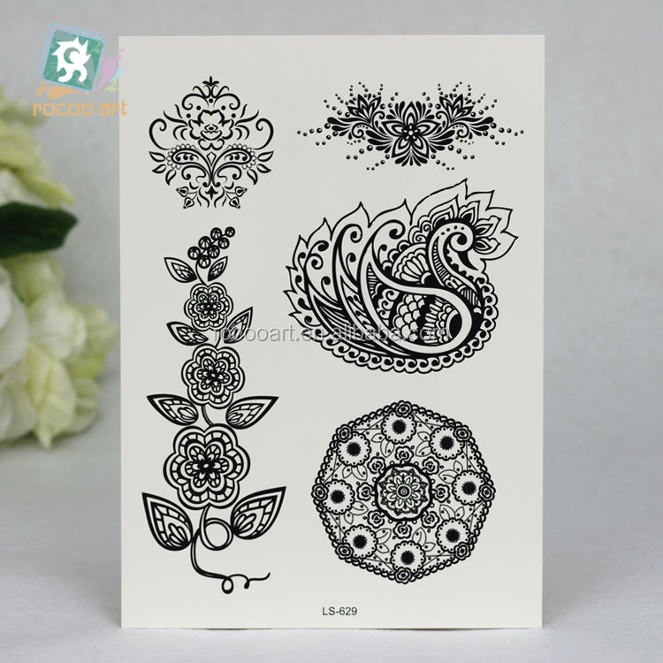 LS-629/2015 new beauty black temporary tattoo sticker for body art