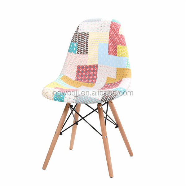 Low back modern design patchwork fabric leisure chair with wooden legs