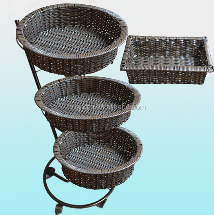 Supermarket floor stand, display rack with rattan basket tray for fuit, three layers