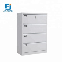 Grey Color Knock Down Lateral Steel 4 Drawers File Cabinet