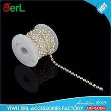 Factory directly sale cheap roll rhinestone trimming plastic pearl chain