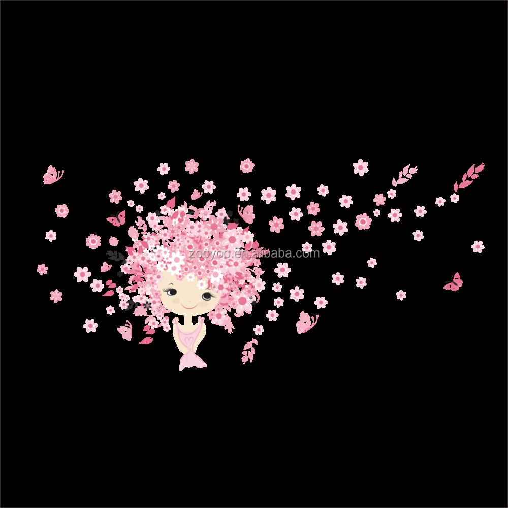ZooyooPA-068-N DIY Blume Fee Mädchen Wandaufkleber Rosa ...