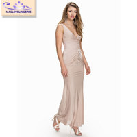 Maclove Hot Selling 2015 Ankle Length Fashion Bodycon Drape Sexy Mature Elegant Pleated Dress