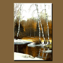 BC13-8827 Pure hand-painted high quality winter natural landscape Forest Lakes Paintings abstract wall decoration