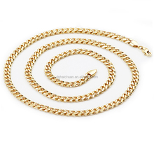 Wholesale 6mm gold neck chain designs gold jewellery 316l stainless steel curb cuban link chain